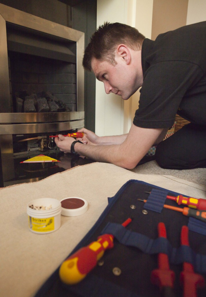 Engineer and fire, gas safety check