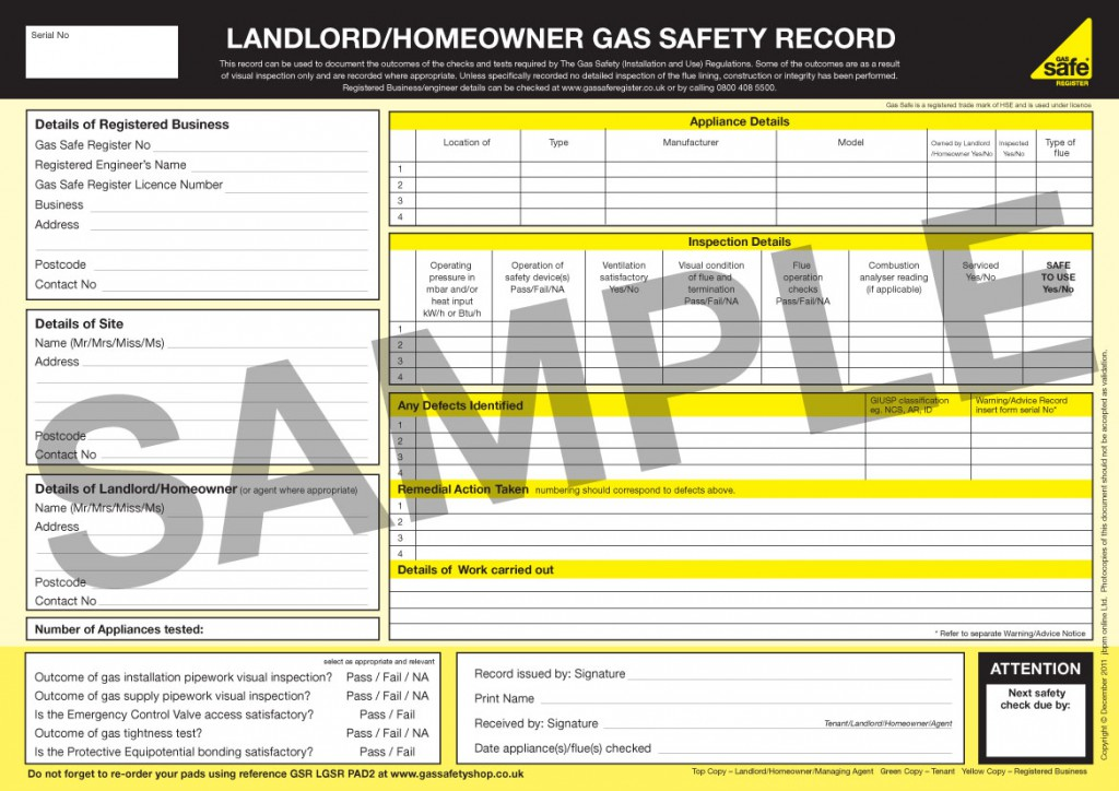 Gas safety CP12 certificate