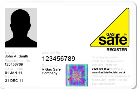 Gas Safe ID Card Front, Gas Safety